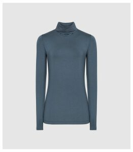 Reiss Charlie - Jersey Rollneck Top in Teal, Womens, Size XL