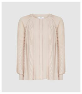 Reiss Editha - Pleat Detailed Blouse in Nude, Womens, Size 16