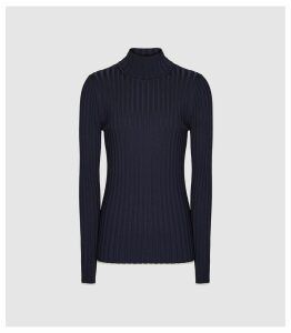 Reiss Morgan - Ribbed Rollneck Jumper in Navy, Womens, Size XXL