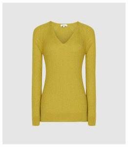 Reiss Elouise - Ribbed V-neck Jumper in Green, Womens, Size XXL