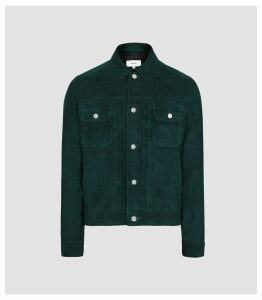 Reiss Scott - Suede Western Jacket in Teal, Mens, Size XXL