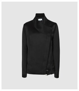 Reiss Harriet - Satin Biker Jacket in Black, Womens, Size 6
