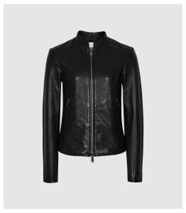 Reiss Allie - Leather Collarless Biker Jacket in Black, Womens, Size 14