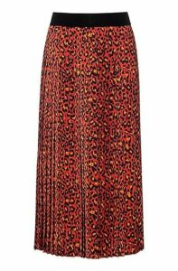Regular-fit skirt in leopard print with plissé pleats