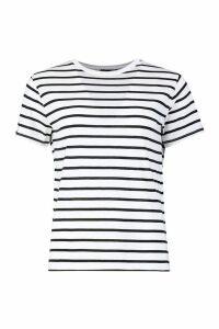 Womens Tall Stripe Boxy T-Shirt - white - 12, White