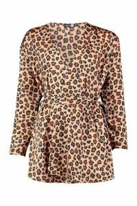 Womens Tall Woven Leopard Wrap Tie Waist Blouse - beige - 10, Beige