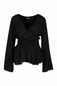 Womens Tall Ruched Long Sleeve Peplum Blouse - black - 10, Black