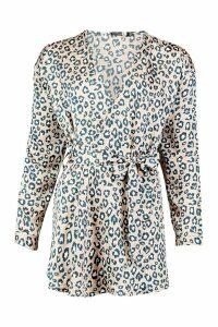 Womens Tall Woven Leopard Wrap Tie Waist Blouse - beige - 6, Beige