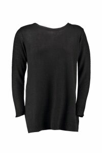 Womens Plus Side Split Moss Stitch Tunic Jumper - black - 20, Black