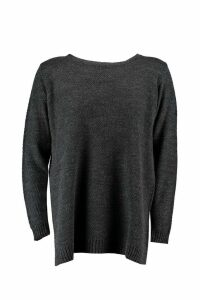 Womens Plus Side Split Moss Stitch Tunic Jumper - grey - 20, Grey
