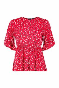 Womens Tall Ditsy Floral Smock Top - Red - 18, Red