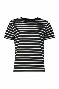 Womens Tall Stripe Boxy T-Shirt - Black - 16, Black