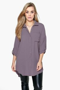 Womens Plus Oversized Shirt - Grey - 20, Grey