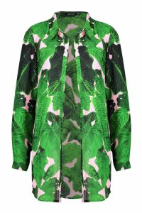 Womens Palm Print Beach Shirt - green - 12, Green
