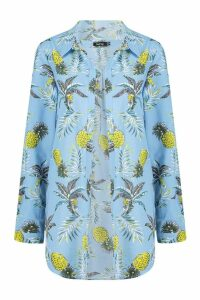 Womens Pineapple Print Beach Shirt - blue - 10, Blue