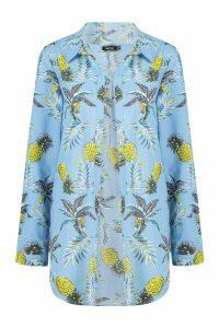 Womens Pineapple Print Beach Shirt - blue - 14, Blue