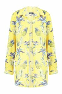 Womens Pineapple Print Beach Shirt - yellow - 14, Yellow