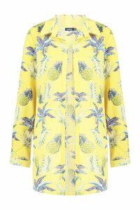 Womens Pineapple Print Beach Shirt - yellow - 14, Yellow