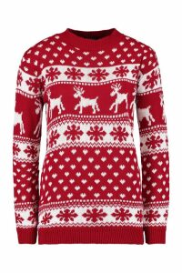 Womens Reindeer & Snowflake Christmas Jumper - red - S/M, Red