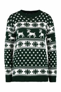Womens Reindeer & Snowflake Christmas Jumper - green - M/L, Green