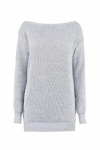 Womens Slash Neck Fisherman Jumper - grey - S/M, Grey