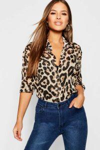 Womens Petite Chiffon Leopard Print Shirt - brown - 12, Brown