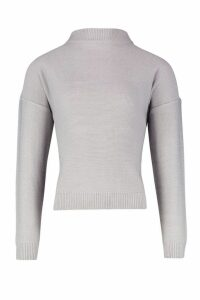 Womens roll/polo neck Jumper - grey - XS, Grey