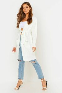 Womens Belted Oversized Boyfriend Cardigan - white - M/L, White