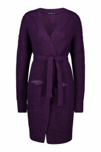 Womens Belted Oversized Boyfriend Cardigan - purple - S/M, Purple