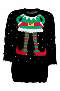 Womens Elf Christmas Jumper - black - S/M, Black