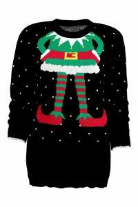 Womens Elf Christmas Jumper - black - M/L, Black