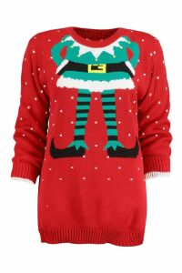 Womens Elf Christmas Jumper - red - S/M, Red