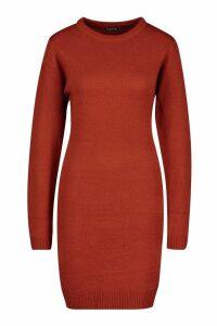 Womens Crew Neck Long Sleeve Dress - orange - S, Orange