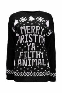 Womens Merry Christmas Ya Filthy Animal Jumper - black - S/M, Black