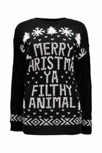 Womens Merry Christmas Ya Filthy Animal Jumper - black - S/M, Black