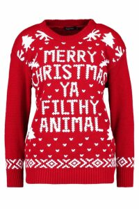 Womens Merry Christmas Ya Filthy Animal Jumper - red - S/M, Red