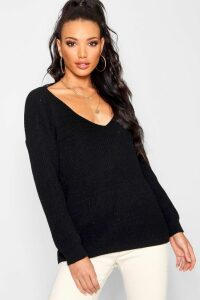 Womens Oversized V Neck Jumper - black - M/L, Black
