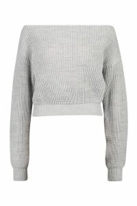 Womens Slash Neck Crop Fisherman Jumper - grey - M/L, Grey
