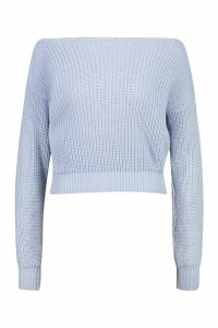 Womens Slash Neck Crop Fisherman Jumper - blue - M/L, Blue