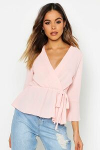 Womens Wrap Over Tie Blouse - pink - 12, Pink