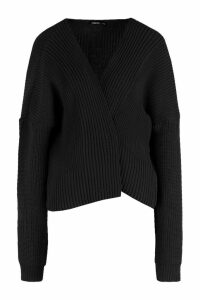 Womens Oversized Rib Cropped Cardigan - black - S/M, Black