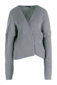 Womens Oversized Rib Cropped Cardigan - grey - M/L, Grey