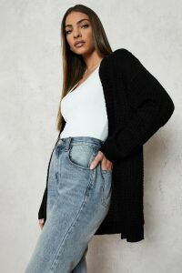 Womens Edge To Edge Waffle Cardigan - Black - S/M, Black