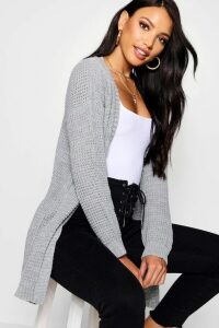 Womens Edge To Edge Waffle Cardigan - Grey - M/L, Grey