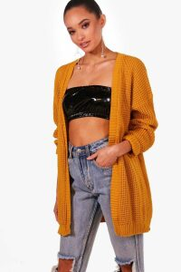 Womens Edge to Edge Waffle Cardigan - yellow - S/M, Yellow