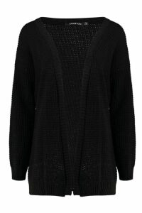 Womens Edge To Edge Waffle Knit Cardigan - Black - M/L, Black