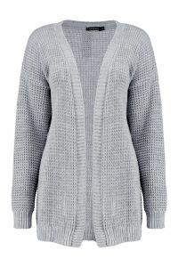 Womens Edge To Edge Waffle Knit Cardigan - grey - M/L, Grey