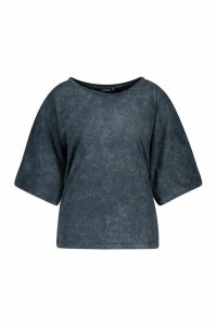Womens Plus Oversized Acid Wash T-Shirt - grey - 16, Grey