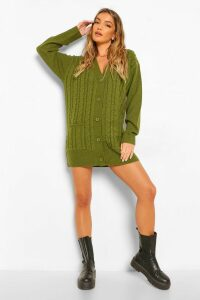 Womens Cable Boyfriend Button Up Cardigan - green - S/M, Green