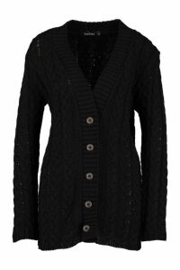 Womens Cable Knit Cardigan - black - M/L, Black